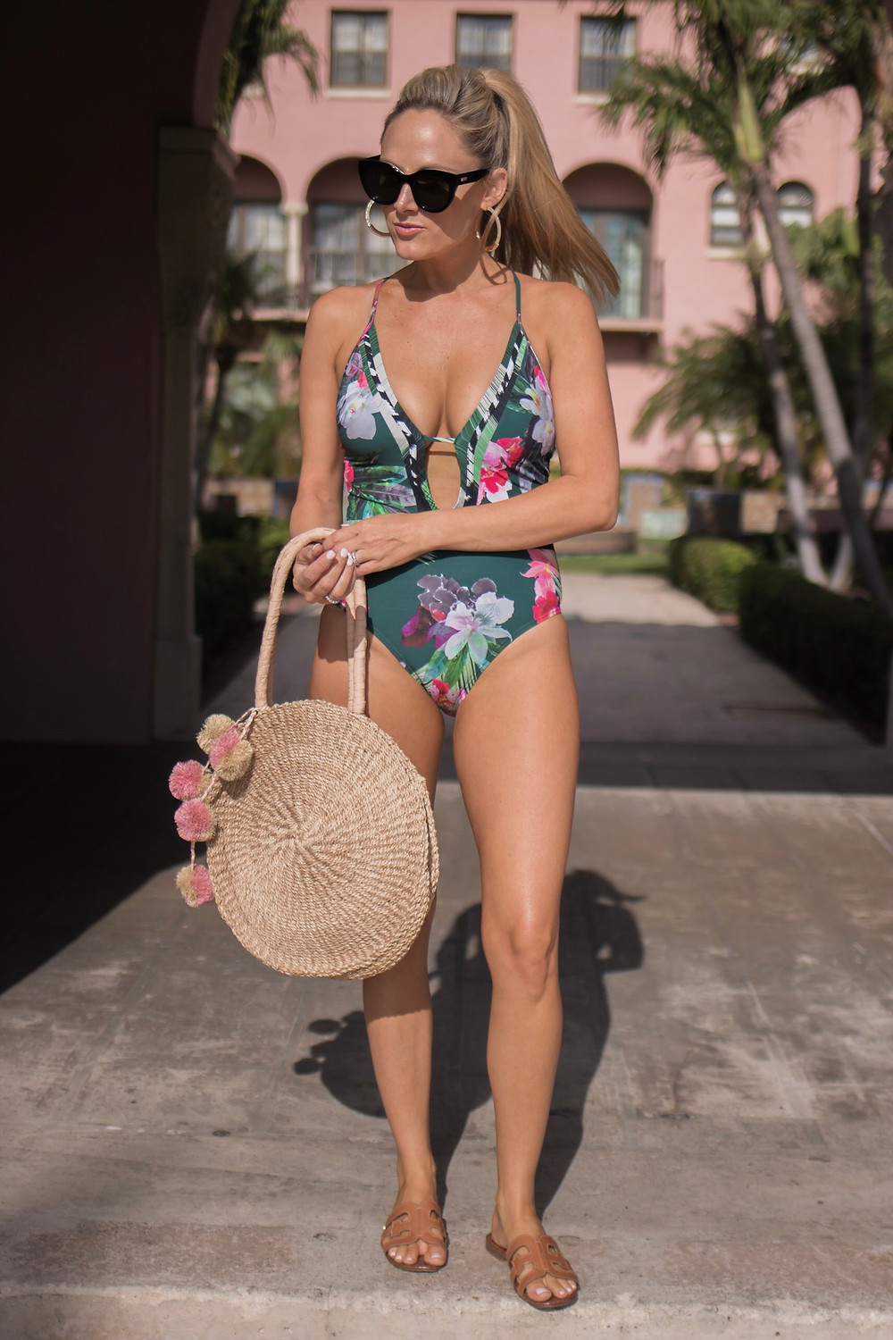 Girl at Boca Resort in La Blanca Floral  One Piece