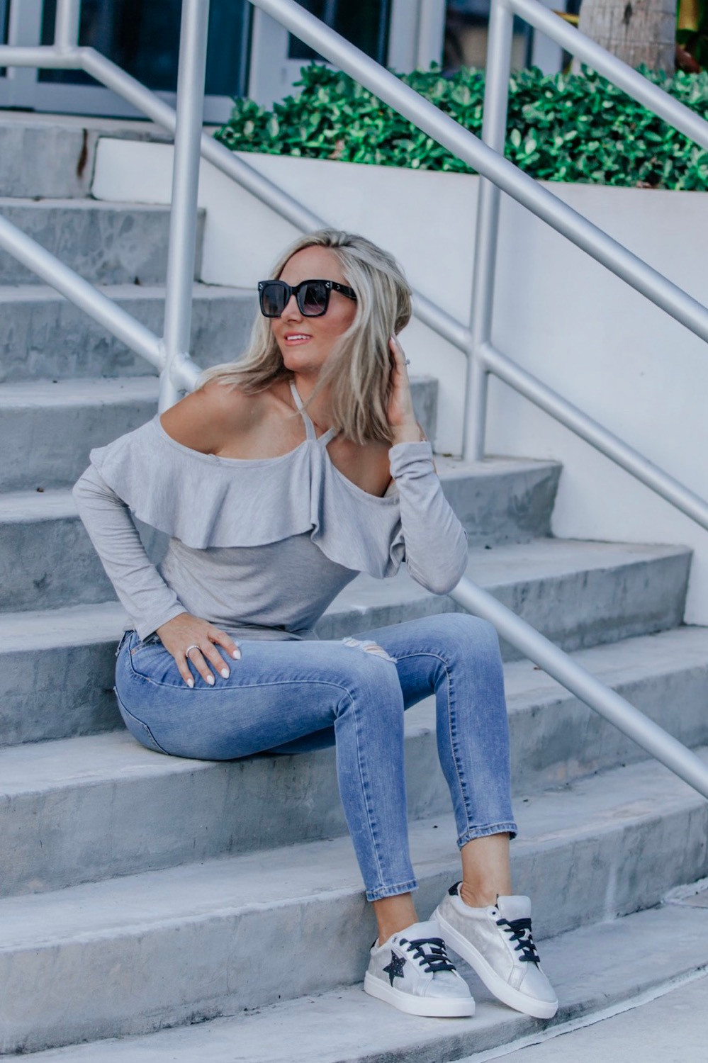 walmart top and jeans on girl on steps