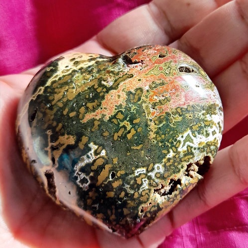 Vibrant Ocean Jasper heart - Medium size