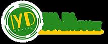 Logo do IYD Brasil. Círculo verde com as letras IYD em amarelo no centro, abaixo está escrito Brasil. Do círculo sai uma linha amarela horizontal, que serve de base para o escrito: Dia da Juventude em verde.