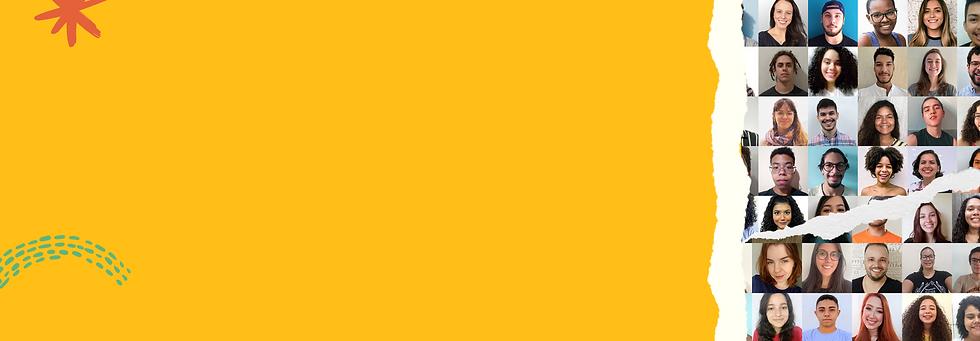Fundo amarelo com mosaico de fotos de jovens diversos a direita