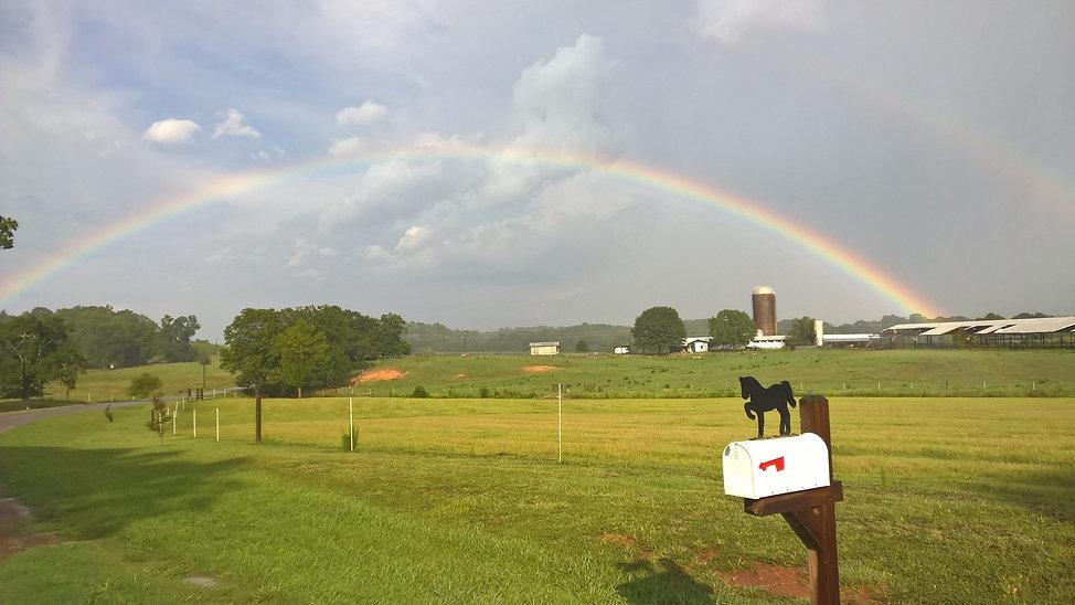 rainbow over horse boarding