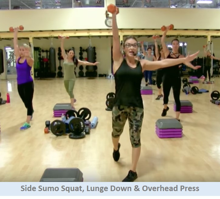 Side sumo squat, lunge down & overhead press