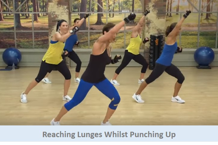 Reaching lunges whilst punching up