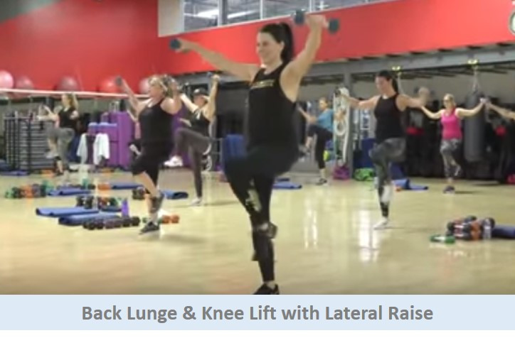 back lunge & knee lift with lateral raise