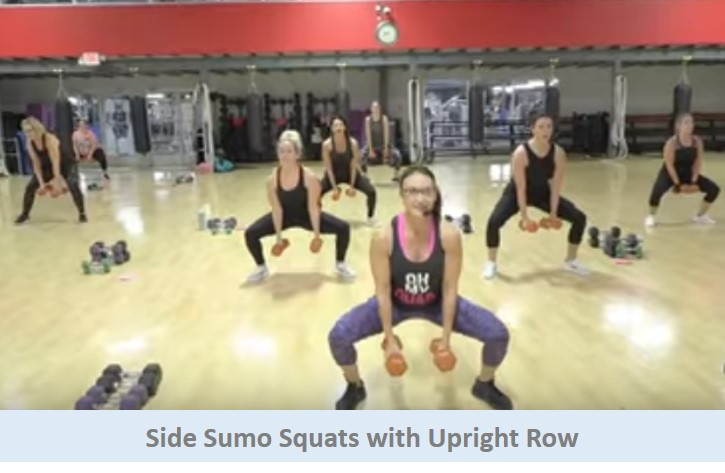 Side sumo squats with upright row