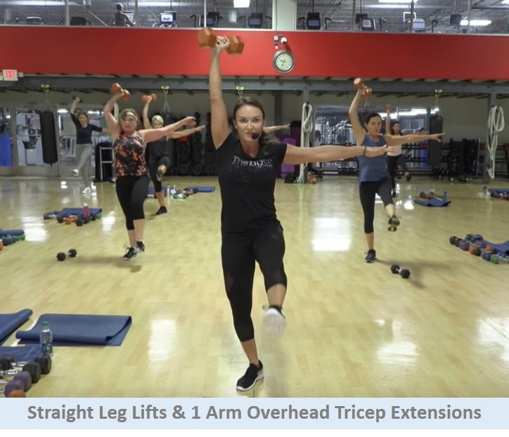 Straight leg lifts & 1 arm overhead tricep extension