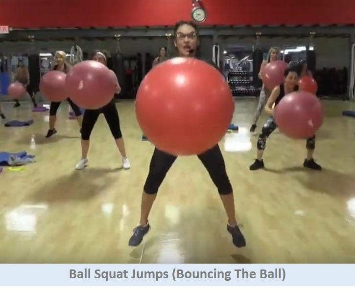 Ball squat jumps