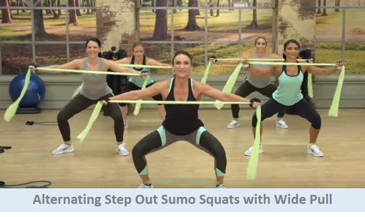 Alternating step out squats with wide pull
