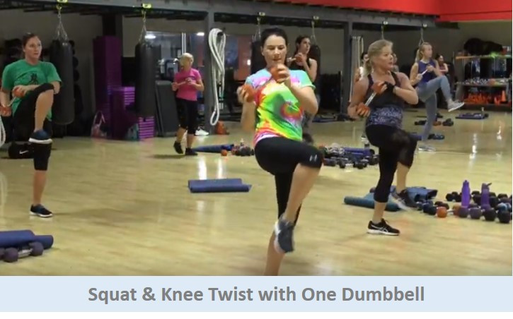 Squat & Knee Twist with One Dumbbell