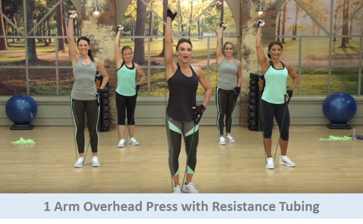 1 Arm Overhead Press with Resistance Tubing