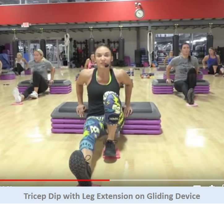 Tricep Dip with Leg Extension on Gliding Device