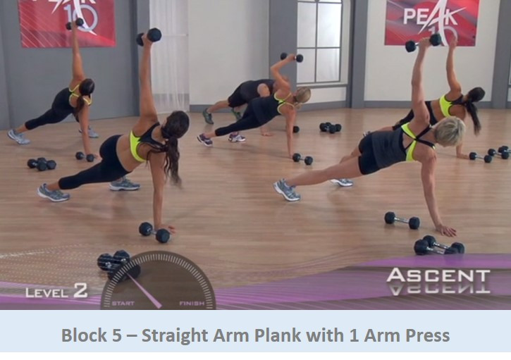 Straight arm plank with 1 arm press