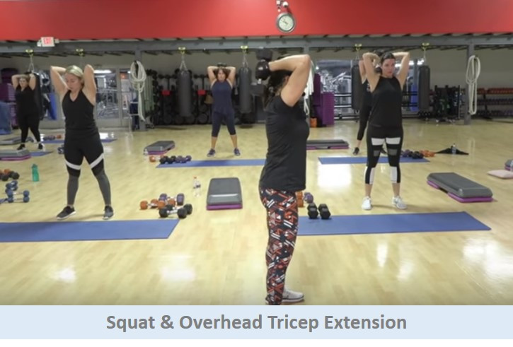 Squat & overhead tricep extension
