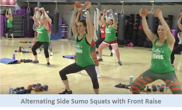 Alternating Side Sumo Squat with Front Raise