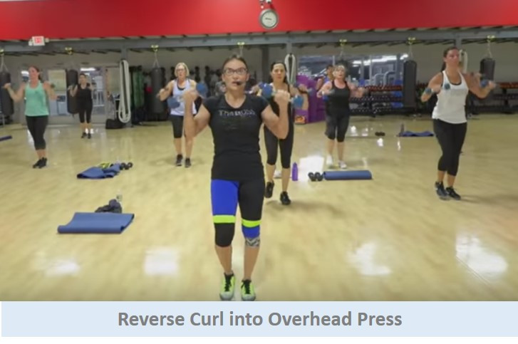 Reverse curls into overhead press