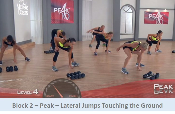 Lateral jumps touching the ground