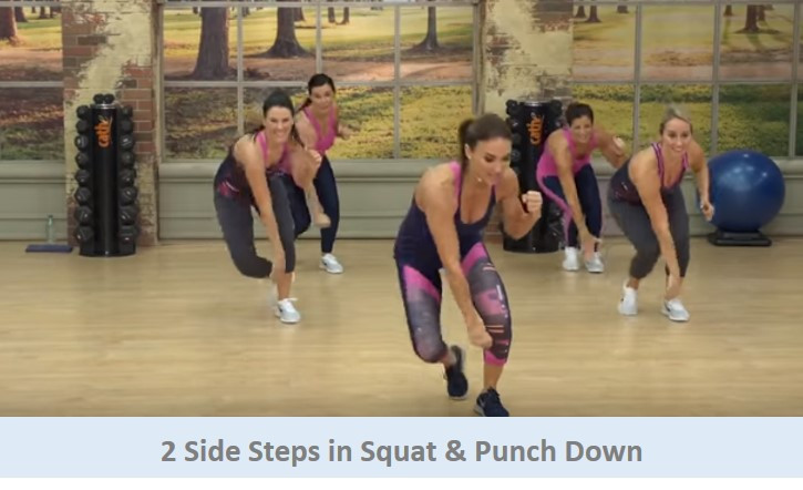 2 side steps in squat & punch down