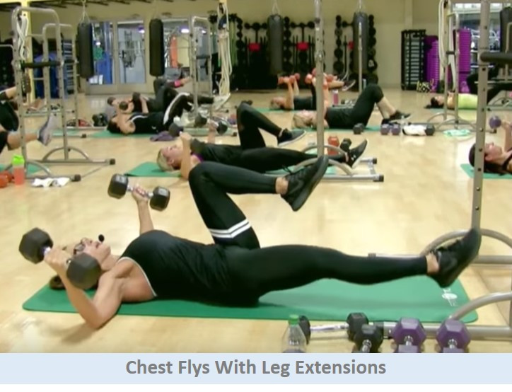 Chest Flys w Leg Extensions