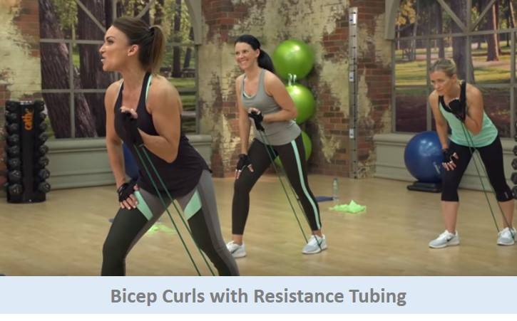 Bicep Curls with Resistance Tubing