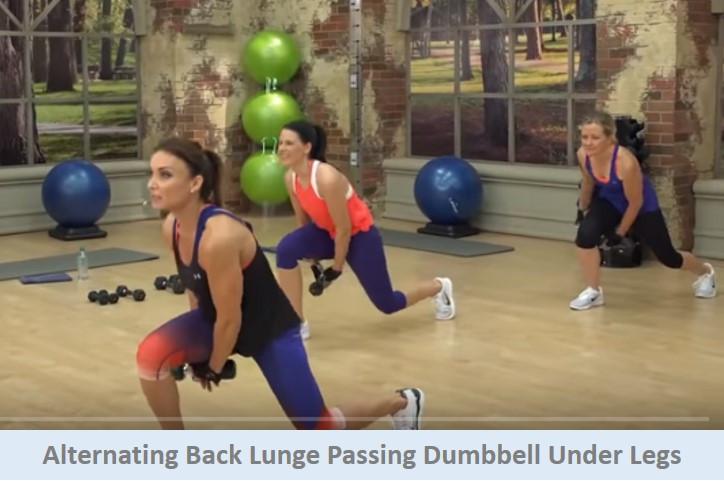 Alternating back lunge passing db under legs