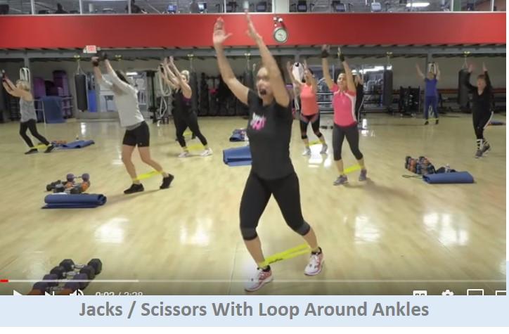 Jacks / Scissors with loop around ankles