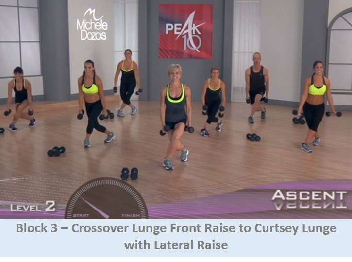 Crossover lunge front raise to curtsey lunge with lat raise