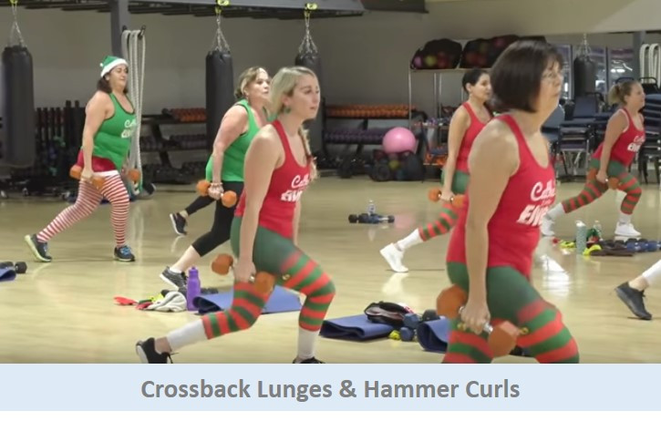 Crossback lunges & hammer curls