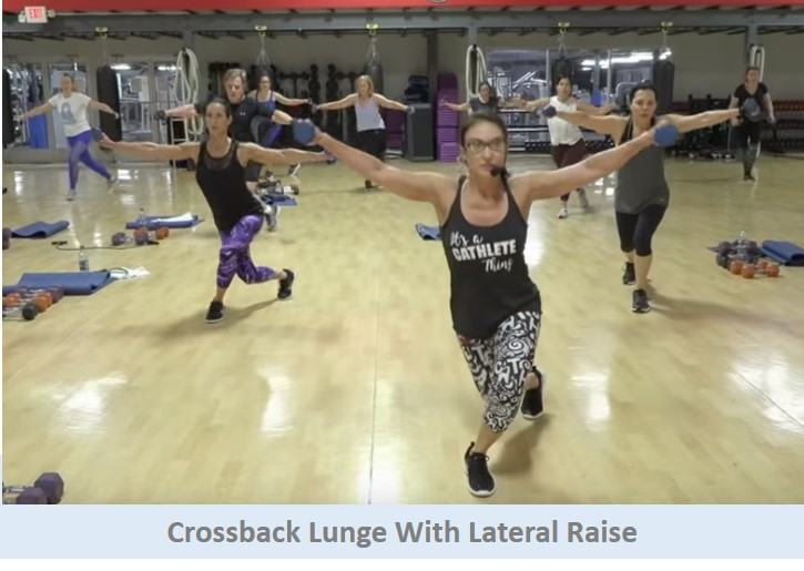 Crossback lunge with lateral raise