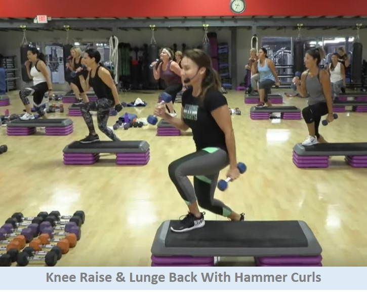 Knee raise & lunge back with hammer curls