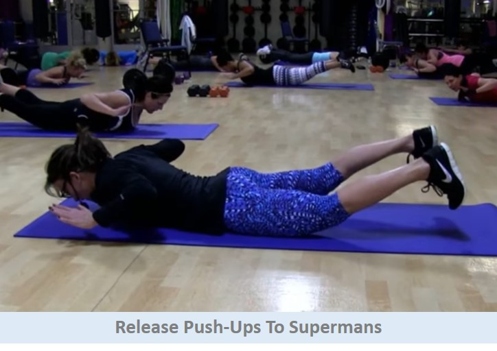 Release pushups to supermans