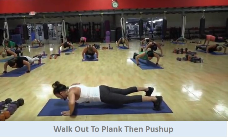 Walk out to plank then pushup