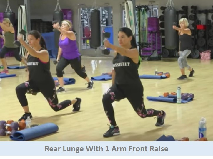 Rear Lunge w 1 Arm Front Raise