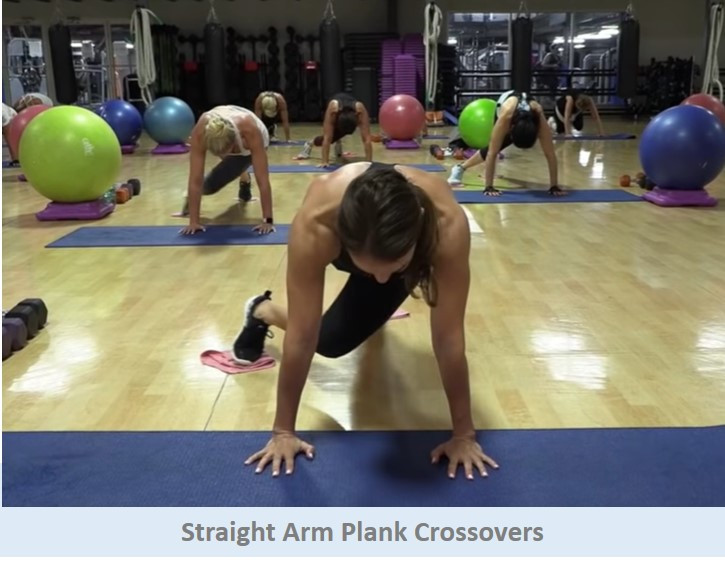 Straight arm plank crossovers