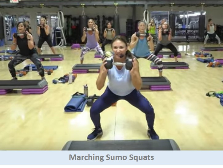 Marching sumo squats