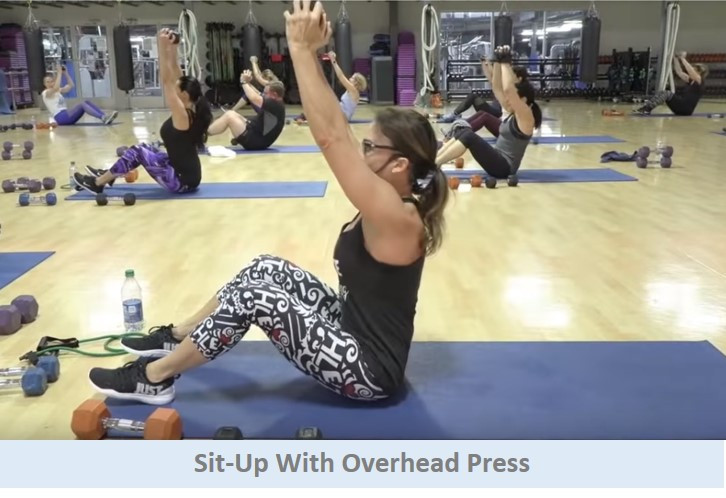 Sit-up with overhead press