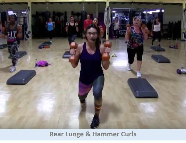 Rear lunges & hammer curls