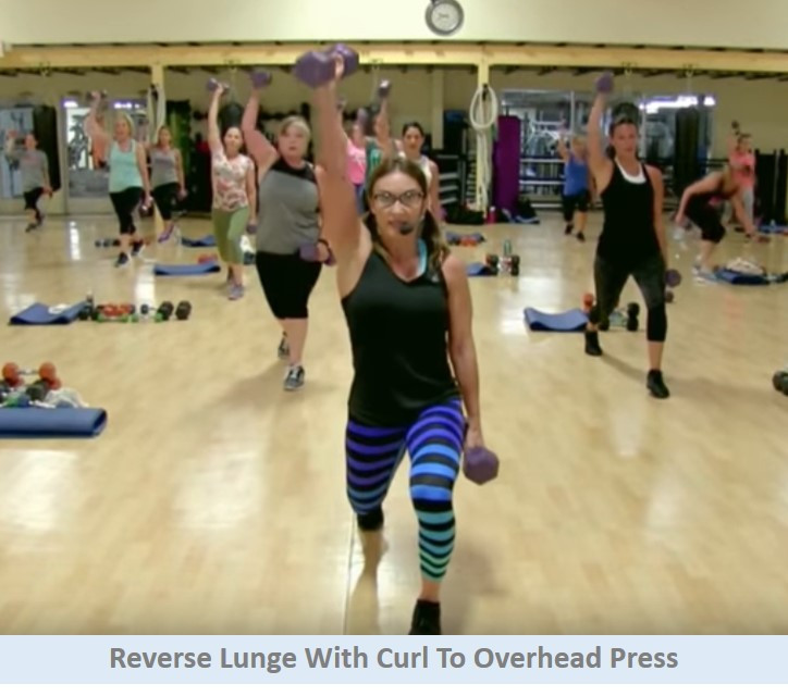 Reverse Lunge with Curl to Overhead Press