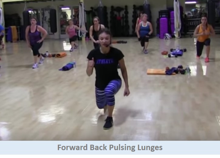 Forward back pulsing lunges