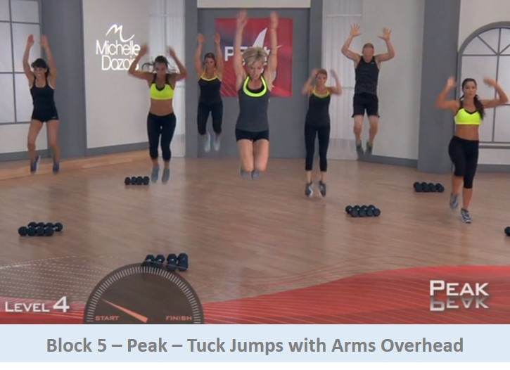 Tuck jumps with arms overhead