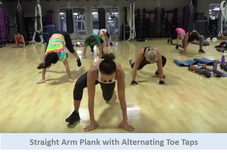 Straight Arm Plank with Alternating Toes Taps