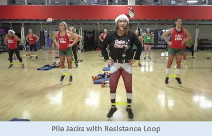 Plie jacks with resistance loop
