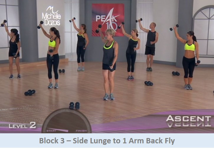 Side lunge to 1 arm back fly