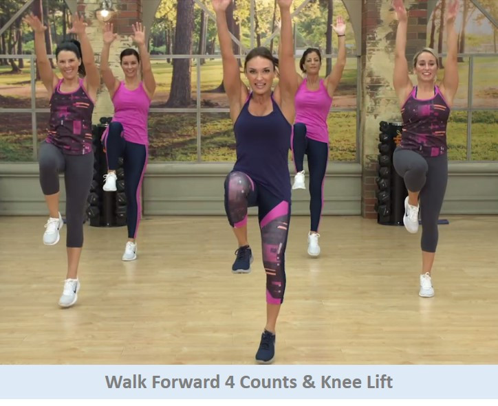 Walk forward & knee lift