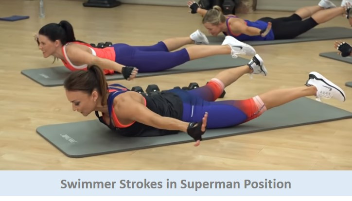 Swimmer strokes in superman position