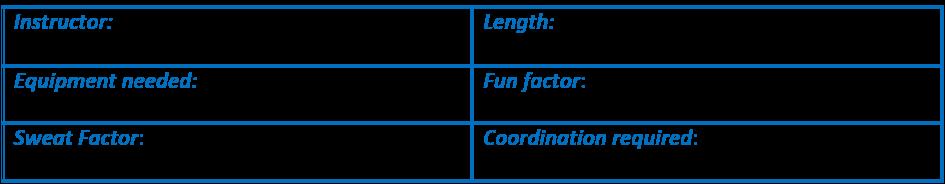 Instructor: Cathe Friedrich. Length 46 mins. Equipment: 3-15# dbs. Fun factor: 5/5. Sweat Factor: 3/5. Coordination: 2/5