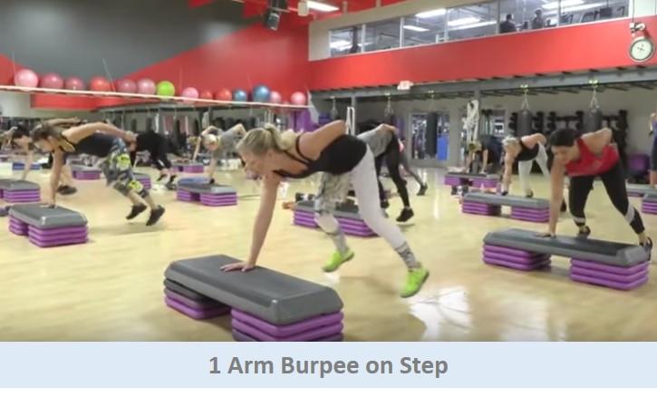 1 Arm Burpee on Step