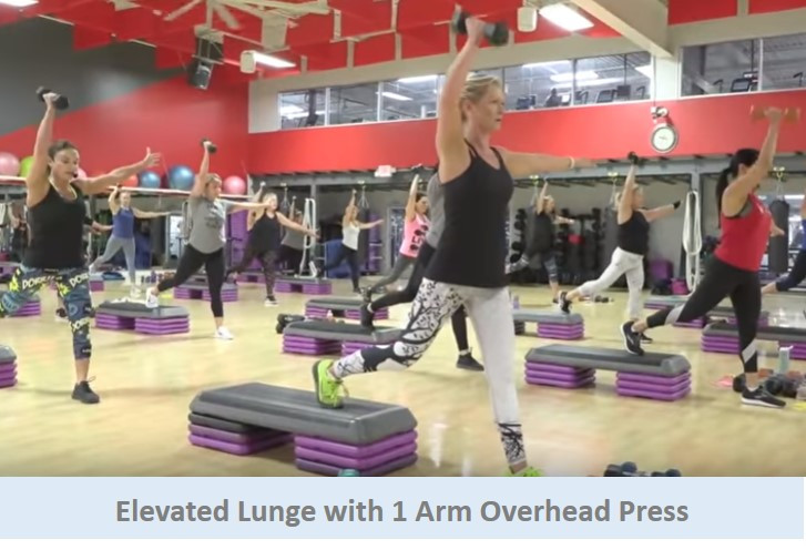 Elevated Lunges with 1 Arm Overhead Press