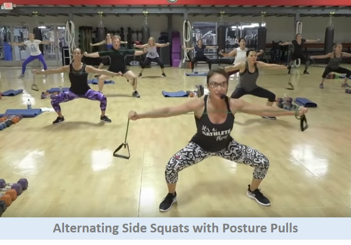 Alternating side squats with posture pulls
