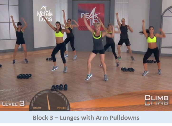 Lunges with arm pulldowns. Cardio move